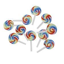 10x Rainbow Lollipop Polymer Clay Cabochon Flatback Scrapbooking Crafts DIY