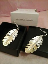 AVON BRAVO EARRINGS - SILVERTONE & GOLDTONE FEATHER EARRINGS