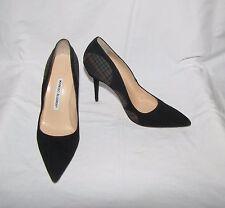 Manolo Blahnik Blk w/Plaid Detail Suede Pointy Toe Stiletto High Heel Pumps 37.5