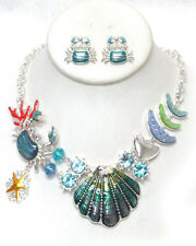 Sealife Ocean Wedding Shell Crab Starfish Crystal Statement Necklace Silvertone