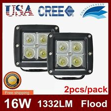 2X 3INCH 16W Square Cube Pods Flood Spot LED Work Light Bumper OffRoad 24W Cree