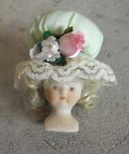 "Vintage 1970s Small Porcelain Girl Doll Head and Shoulders 2 1/2"" Tall"