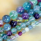 """4/6/8/10/12mm Natural Colorful Fluorite Round Loose Beads 15"""" Choose Size"""