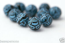 Blue Black Etched Round Acrylic Beads 11mm (16)