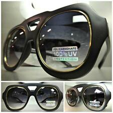 OVERSIZE CLASSIC VINTAGE RETRO Style PARTY SUN GLASSES Matte Black & Gold Frame