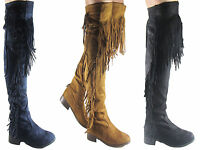 NEW LADIES BLACK OVER THE KNEE TASSLE FRINGE SUEDE FLAT BOOT SIZE 3 - 8