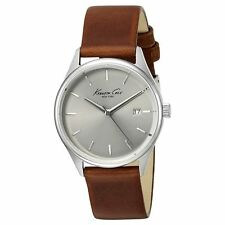Kenneth Cole 10025931 Lady's Silver Dial Brown Leather Band Watch