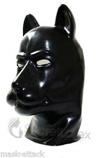 LATEX RUBBER BLACK GUM FETISH DOG FULL HEAD HOOD PUPPY DOLL MAN MEN ANIMAL MASK