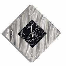 Silver & Black Abstract Wall Clock, Modern Metal Wall Art Decor - Jon Allen