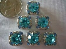 2 Hole Slider Beads Gaiety Aqua Crystals  Made with Swarovski Elements #6