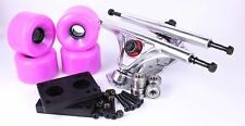 65mm 78a Purple Longboard Wheels and Silver Reverse Kingpin Truck Combo Set