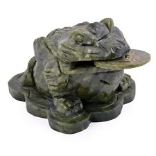 Feng Shui Big Jade Money Frog Toad For Wealth 3.9x2.8x2.4 Inch Fengshui L7019