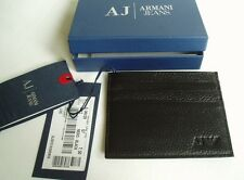 GIORGIO ARMANI JEANS BLACK CALFSKIN LEATHER CARD HOLDER SIX SLOTS £75 06V2RQ712