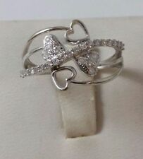 10K SOLID WHITE GOLD HEARTS DIAMOND RING