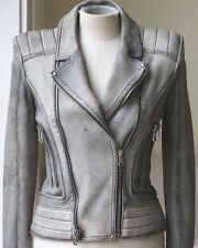 BALMAIN GREY WASHED LAMBS LEATHER JACKET FR 38 UK 8 US 4