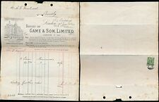 GB KG5 1922 GAME + SON ILLUSTRATED BILLHEAD + PERFIN STAMP FOLDED LETTERSHEET