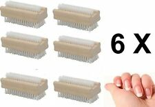 6 PACK Wooden NAIL BRUSH Scrubbing Bath Pedicure Manicure Cleaning Double Sided