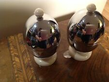Pair Vintage Heatmaster Insulated Covered Chrome cased Egg Cups
