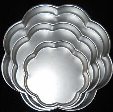 "Wilton 3 Piece Petal Cake Pans 14""-12""- 8 1/2"" Diameter 2"" Deep Wedding Shower"