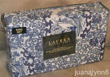 Ralph Lauren Porcelain Blue Birds Cotton King Duvet Comforter Cover Shams Set