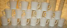 17 VINTAGE D HANDLE FIRE KING WHITE MILK GLASS MUGS LOT OF