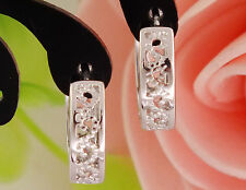 """Awesome New White Gold Silver Plate Scroll Cut Out Round 1/2"""" Hoop Earrings"""