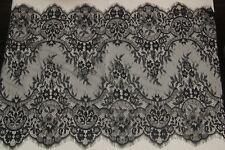 """3.3 Yards Lace Trim Black Eyelash Embroidery Fabric Wedding 15.7"""" Super width"""