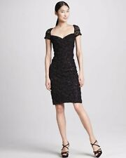 $460 David Meister Black Ruched Ribbon Lace Sequin Sheath Dress 10 NWT D292