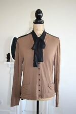 Isabel de Pedro Cardigan Top Brown Black Pussy Bow High Collar 12 14 RRP199