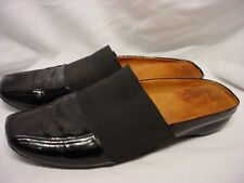 KENNETH COLE ISO MULE SZ 10 M BLACK PATENT GENUINE LEATHER FLAT MULES