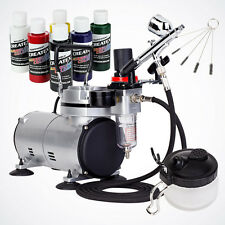 6 Primary Colors Pro Dual-Action Airbrush Kit Air Compressor Hobby Art Paint Set