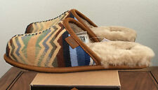 UGG Mens Size 11 Chestnut Brown Scuff Deco Pendleton Slippers Warm Wool 1010236