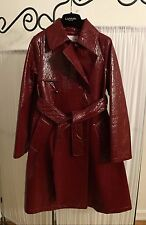 LANVIN Petite Girls Belted Shiny Crackle Red Trench Coat Size 12 EUC $$$$ WOW!