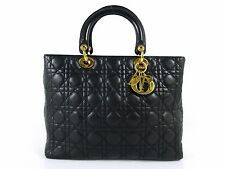 Authentic Christian Dior Lady Dior Cannage Hand Bag Leather Black 37855