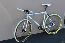 R4 WHITE AND GOLD FIXIE ROAD BIKE W/ DUAL BRAKES FLIP FLOP HUB 54CM MEDIUM