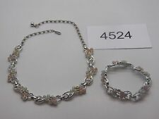 Vintage Jewelry SET OF 2 Necklace Bracelet SC SILVER TONE BEADS BEAUTIFUL 4524