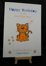 Personalised Handmade Happy Birthday Card from the Cat - Mam, Dad