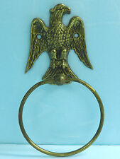 VINTAGE Solid Brass Bald Eagle Home Decorative Wall Hang Towel Holder Ornament