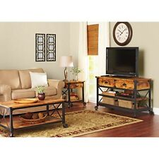 Rustic Wrought Iron Style Coffee End Table TV Stand Living Room Side LCD Lamp