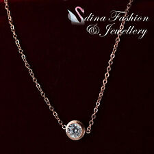 18K Rose Gold Plated Swarovski 0.7cm Single Diamond Delicate Necklace