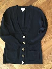 Neiman Marcus XS Black w/ gold Buttons 100% Cashmere Cardigan  Sweater