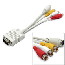 NEW VGA to S-Video AV TV Out + 3 RCA Composite Converter Adapter Cable WHITE