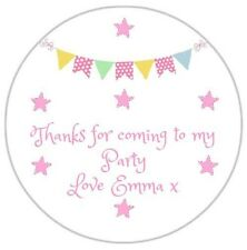 24 Personalised Bunting Birthday Party Stickers Thank You Sweet Cone Bags DE2