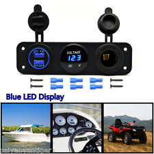 Dual USB Charger + Voltmeter+ 12V Socket + 3 Hole Panel Marine Car Boat Blue LED