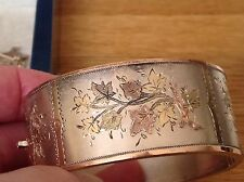 A1 VINTAGE ANTIQUE B'HAM 1884 STERLING SILVER & 9ct GOLD FLOWER ENGRAVED BANGLE