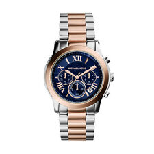 **NEW* LADIES MICHAEL KORS ROSE GOLD COOPER 2-TONE BLUE WATCH MKMK6156 -RRP£259