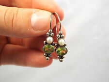 JGD Janice Girardi Sterling Silver Peridot & Pearl Design Earrings