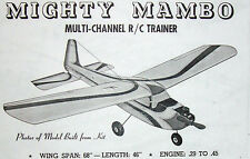 Vintage MIGHTY MAMBO Famous Early Days RC Model Airplane PLANS + Parts Patterns