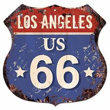 BP0721 LOS ANGELES US 66 Shield Rustic Chic Sign  MAN CAVE Decor Gift