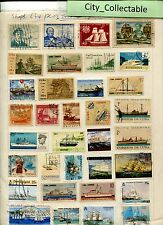 T472 # BULK 34 PCS SHIPS USED STAMPS CHILE ALDERNEY NORWAY ETC